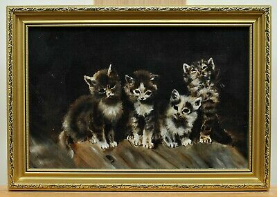 £32 • Buy Antique Early 20th Century Oil On Canvas Portrait Of Four Kittens Cat Painting