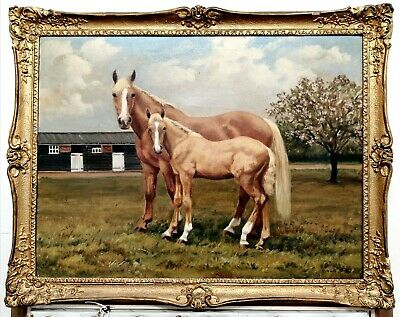 £11 • Buy Antique Vintage Oil On Canvas Portrait Of Two Horses Animal Painting