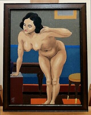 £9.99 • Buy Mid 20th Century Oil On Canvas Nude Portrait Of A Lady Vintage Painting