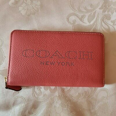 £25 • Buy Fab BNWT COACH Coral Leather Zip Around Purse/Wallet