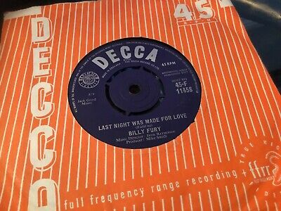 £1.50 • Buy * BILLY FURY Last Night Was Made For Love 1st Press 1962 UK DECCA SINGLE 45 EX -