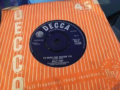 £1.50 • Buy * BILLY FURY I'd Never Find Another You 1st Press 1961 UK DECCA SINGLE 45 EX -