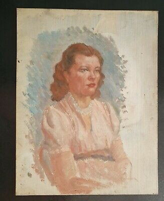 £30 • Buy RELISTED 1950s Female Portrait  Mid 20th Century Original Oil Painting On Board