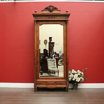 AU2450 • Buy Antique French Walnut And Bevelled Glass Door Bookcase Display China Cabinet