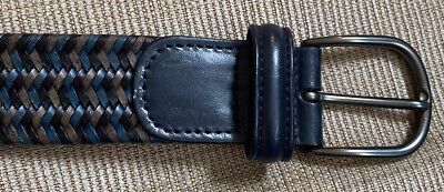 £25 • Buy ANDERSONS BLUE GREY WOVEN ITALIAN LEATHER MENS BELT 95cm 36  Excellent Conditikn