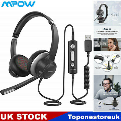 £20.09 • Buy Mpow USB 3.5mm Computer Headset Headphones Noise Canceling For Skype Calling PC