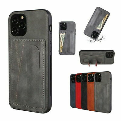 AU11.34 • Buy Leather Card Slot Stand Case Cover For IPhone 13 12 Pro Max 11 XS XR 8 7 Plus SE