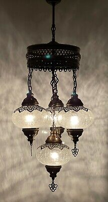£104.98 • Buy Turkish Moroccan Glass Mosaic Hanging Lamp Ceiling Light Chandeliers Free Bulbs