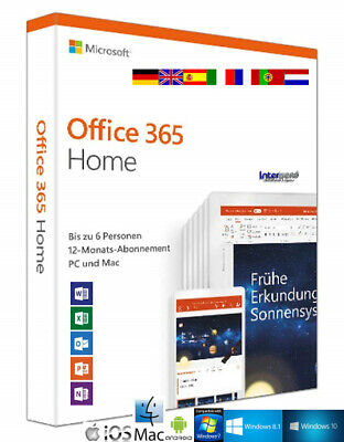 AU139.42 • Buy Microsoft Office 365 Home (2019) Vollversion 6 PC PC/Mac/Android Download NEU