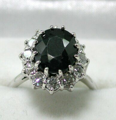 AU1789.56 • Buy Vintage Beautiful 18 Carat White Gold Large Sapphire And Diamond Cluster Ring
