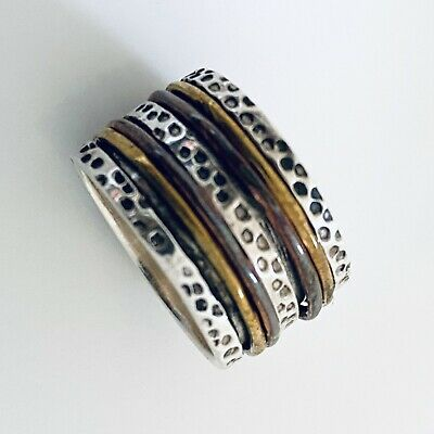 £22.99 • Buy 925 Sterling Silver Spinning 3 Tone Ring Worry Stress Ring Size R