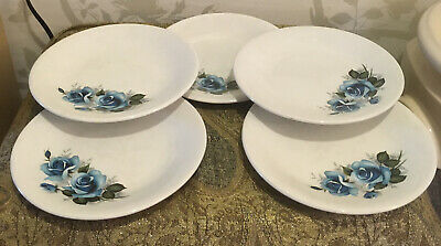 £9.99 • Buy Vintage Barratts Delphatic Blue And White Rose Side  Plates X5...
