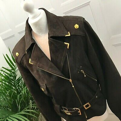 £39 • Buy Ladies VERA PELLE Brown Leather Jacket Size Small Zipped Front Gold Belted
