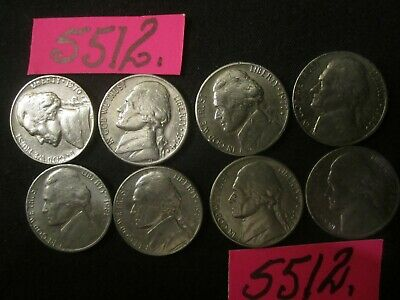 AU5.95 • Buy 8 X  Five Cents COINS  Mixed  Era's  Mar5512    UNITED STATES  14 Gms CULLED