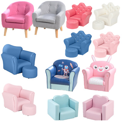 £40.98 • Buy Children Kids Sofa Leather PVC Upholstered Armchair Tub Chair W/ Footstool