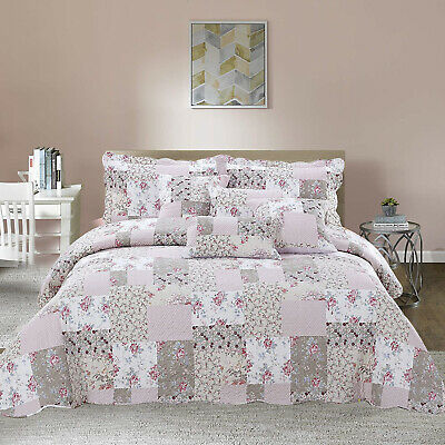 £28.99 • Buy Quilted Printed Patchwork Bedspread Double King Size Comforter Throw Set & Shams