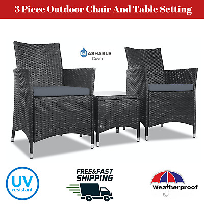 AU319.90 • Buy Outdoor Setting Chair Table Patio Furniture Set Wicker Rattan Armchair 3 Piece