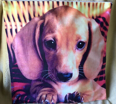 £6.99 • Buy 🇬🇧 Soft Cushion Cover With A Beautiful Dachshund Puppy