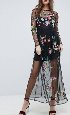 AU18.05 • Buy ASOS Premium Mesh Maxi Dress With Floral Embroidary