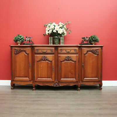 AU1950 • Buy French Breakfront 4 Door Oak Sideboard Cabinet With 2 Drawers Parquetry Top