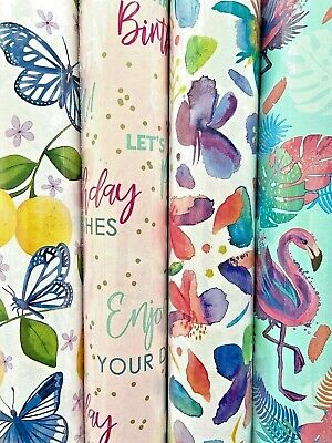 £9.99 • Buy 12m Birthday Gift Wrapping Paper 4 X 3m Rolls Butterflies Flowers Flamingos