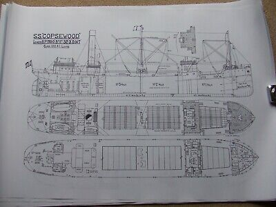 £50 • Buy 12 Large Steam Ship Drawing Prints. Steel Screw Cargo Freighter Ship Steamers 2