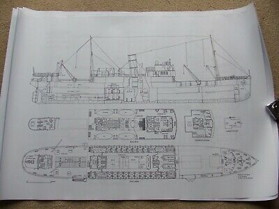 £50 • Buy 12 Large Steam Ship Drawing Prints. Steel Screw Cargo Freighter Ship Steamers 3