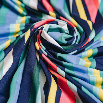 £1.20 • Buy 1.5m Of Vertical Stripe Stretch Jersey Knit Fabric RRP £9.99 Bright Colours Navy