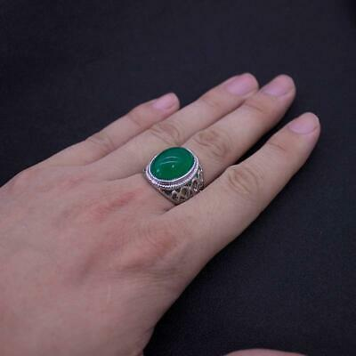 £5.58 • Buy Mens Silver Natural Real Green Jade Stone Ring For Men Size 7-11 Accessory Sale