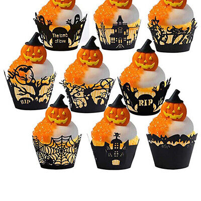 £2.99 • Buy 12pcs Halloween Decorations Cupcake Wrappers Case Cake Decorating HalloweenP Rs