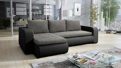 £450 • Buy Universal Corner Sofa Bed In Grey / Black Colour With Spring Seat & One Storage