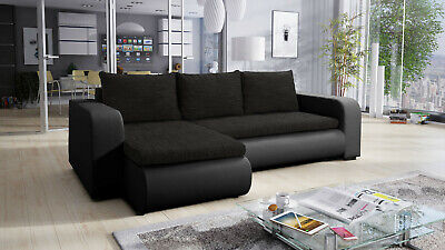 £450 • Buy Universal Corner Sofa Bed In Black Colour With Spring Seat & One Storage