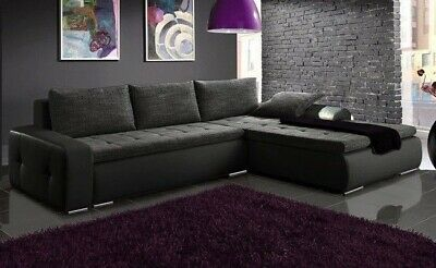 £595 • Buy Righ Hand Side Corner Sofa Bed With One Storage & Upholstery Belts In Grey/Black