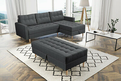 £530 • Buy Universal Corner Sofa Bed With Pouf ,2 Storages In Dark Grey  Colour,spring Seat