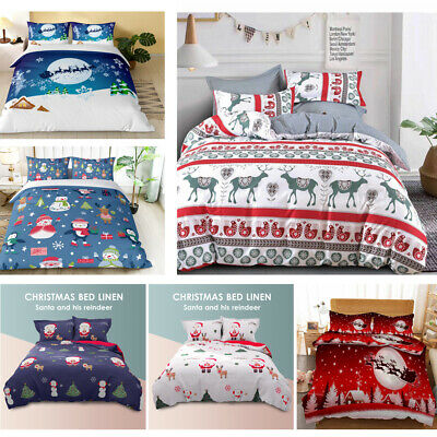 AU25 • Buy Christmas Ultra Soft Quilt Doona Cover Set Single Double Queen King Xmas Gift