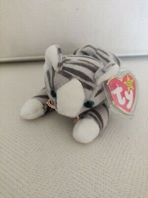 £2.50 • Buy Ty Beanie Baby Prance - The Grey And White Cat - Mint - Retired With Tags