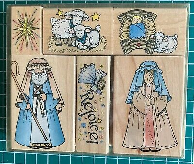 £17.50 • Buy Hero Arts Wood Mounted Rubber Stamps: Away In A Manger Set Of 6 Christmas Stamps