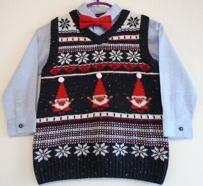 £10 • Buy Ex Next Baby Boys 3 Piece Christmas Set Shirt Tank Top & Bow Tie Age 3-6 Months