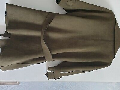 £10 • Buy Faux Suede Long Line Jacket Khaki Colour Three Quarter Length Sleeves With...