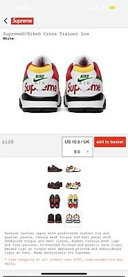 £225 • Buy SUPREME X NIKE CROSS TRAINER 3 LOWS WHITE UK 10.5 Confirmed Order