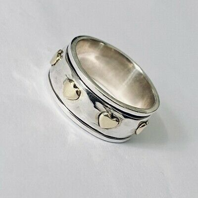 £23.99 • Buy 925 Sterling Silver Spinning Ring With Gold Hearts Worry Stress Ring  Size Q