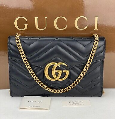 AU1884.30 • Buy GUCCI Calfskin Leather MATELASSE MINI GG MARMONT Wallet On A Chain Clutch B428