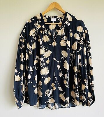 AU35 • Buy Witchery Size 12 Blouse Navy Blue Floral Long Sleeve