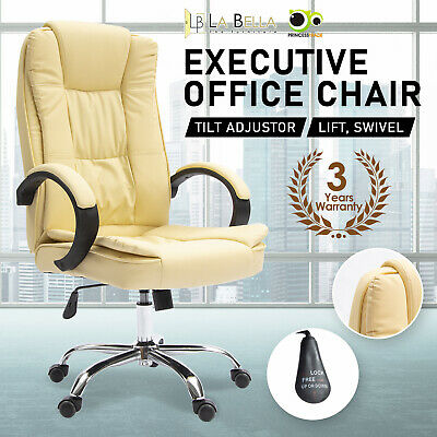 AU112 • Buy Executive Office Chair Dual-Layer Seat Tilt Computer Gaming Work - Beige