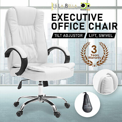 AU112 • Buy Executive Office Chair Dual-Layer Seat Tilt Computer Gaming Work - White