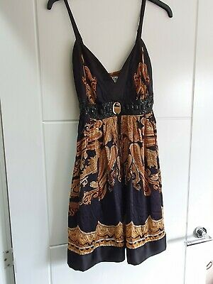 £4.99 • Buy Black & Gold Silk Party Cocktail Dress Embellished Size 10 To 12.