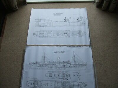 £6.95 • Buy 2 Large Steam Ship Drawing Prints Steel Screw Cargo Freighter Coasting Steamer 3