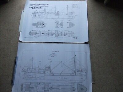 £6.95 • Buy 2 Large Steam Ship Drawing Prints. Steel Screw Cargo Freighter Ship Steamers 4
