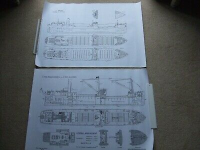 £6.95 • Buy 2 Large Steam Ship Drawing Prints. Steel Screw Cargo Freighter Ship Steamers 7
