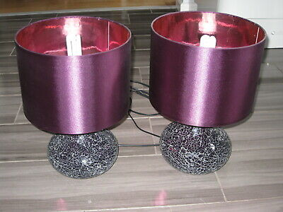 £10 • Buy NEXT Bedside / Table Lamps PAIR Purple / Plum C/w Shades CRACKLE GLASS MOSAIC
